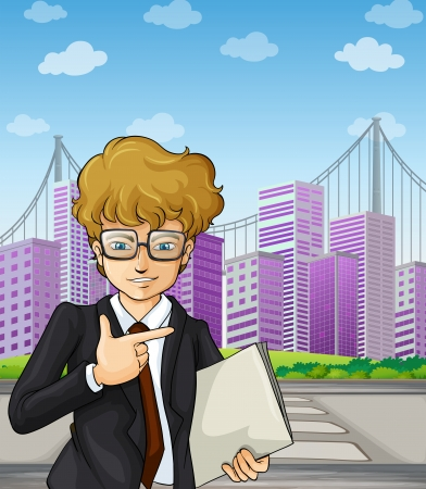 pedestrian crossing: Illustration of a handsome and smart-looking businessman holding a document