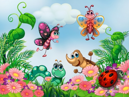 butterfly garden: Illustration of a garden with insects Illustration