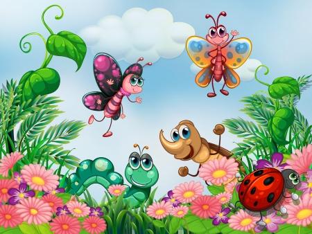 insecto: Ilustración de un jardín con insectos