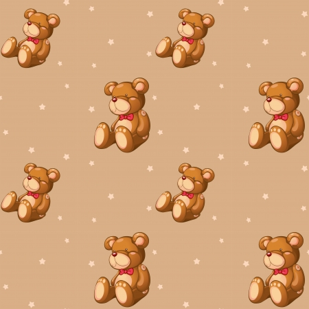 Illustration of a seamless design with teddy bears Vector