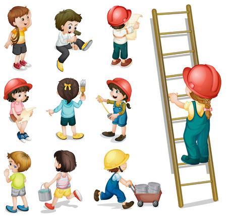 trabajando: Ilustraci�n de los ni�os que trabajan en un fondo blanco