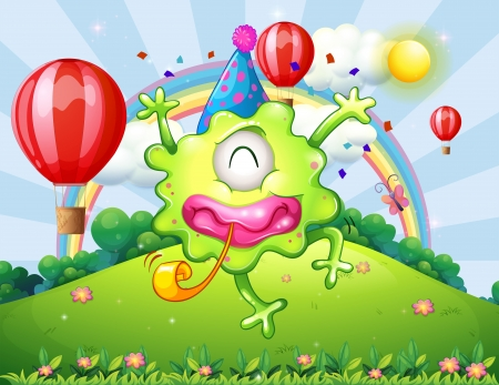 partying: Illustration of a hilltop with a happy monster jumping Illustration