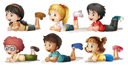 cartoon little girl: Illustration of the six kids on a white background Illustration
