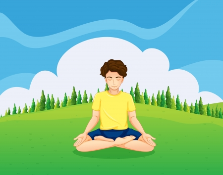 Illustration of a young gentleman at the hilltop doing yoga Stock Vector - 23823100