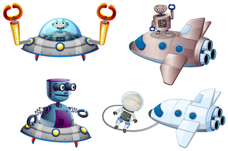 Illustration of the spaceships with robot and a young boy near the plane on a white background Vector