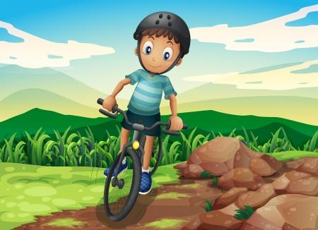 hilltop: Illustration of a kid biking at the hilltop Illustration
