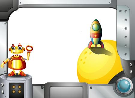 programmed: Illustration of a metal frame with a robot and a rocket Illustration