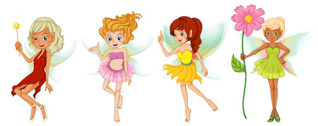 Illustration of the four cute fairies on a white background