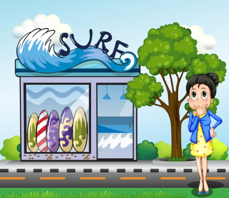 surf shop: Illustration of a woman thinking in front of the surfing shop