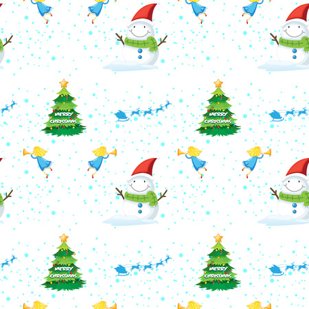 Illustration of a seamless christmas design on a white background Vector