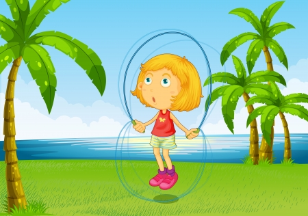 Illustration of a girl playing skipping rope at the riverside Vector