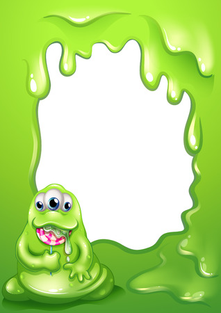 Illustration of a border template with a fat green monster Vector