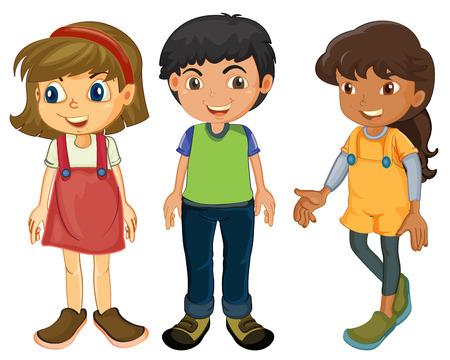 Illustration der drei Kinder auf einem weißen Hintergrund Standard-Bild - 23823166