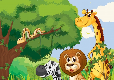 cartoon forest: Illustration of a forest with scary wild animals
