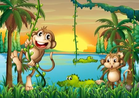 Illustratie van een meer met krokodillen en apen spelen Stock Illustratie