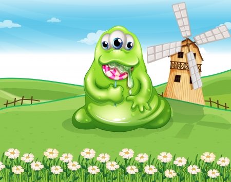 Illustration of a fat monster at the hilltop with a spiral lollipop candy Vector