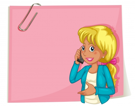 woman cellphone: Illustration of a big pink empty template with a woman using a cellphone on a white background