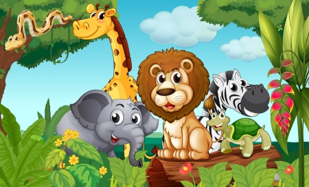 Illustratie van een bos met een groep dieren
