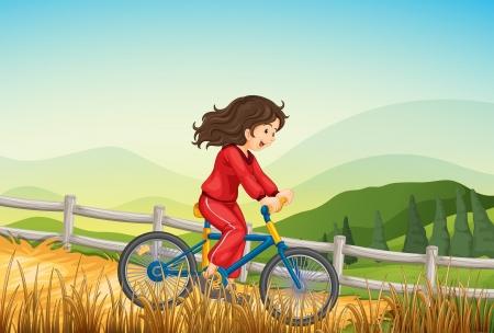 Illustration of a girl biking at the farm Vector