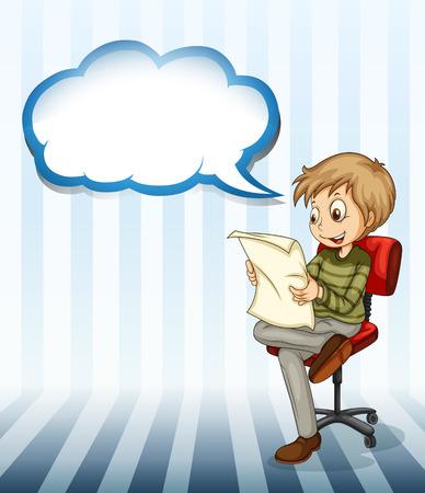 Illustration d'un homme d'affaires lisant un journal avec une légende vide sur un fond blanc