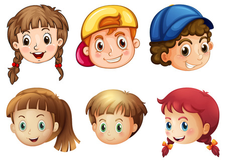 cartoon eyes: Illustration of the six different faces on a white background