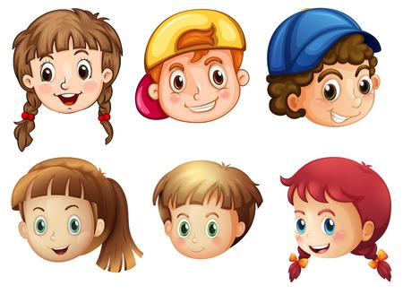 caras emociones: Ilustraci�n de las seis caras diferentes sobre un fondo blanco
