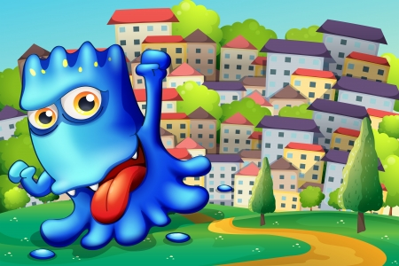 boastful: Illustration of a boastful blue monster above the hill across the buildings