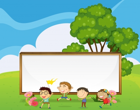 Illustration of the kids playing in front of the big empty signboard Vector