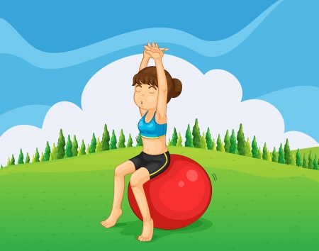 hilltop: Illustration of a teenager exercising at the hilltop with a bouncing ball Illustration