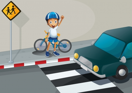 cartoon biker: Illustration of a boy with a bike standing near the pedestrian lane