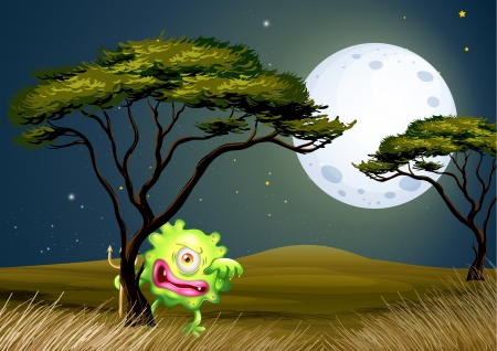 Illustration of a scared one-eyed monster under the fullmoon Vector