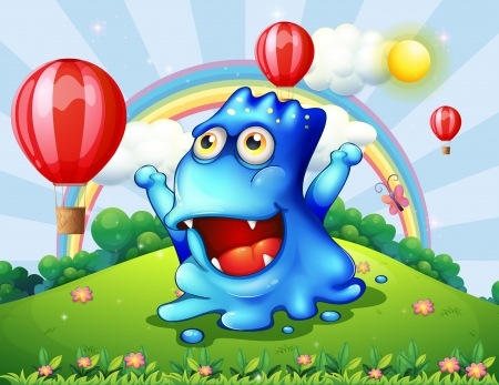 hilltop: Illustration of a happy blue monster at the hilltop with the floating balloons Illustration