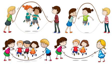 スキップ ロープ、白い背景で遊んでいる子供たちのイラスト