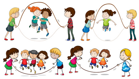 Illustratie van de kinderen spelen springtouw op een witte achtergrond