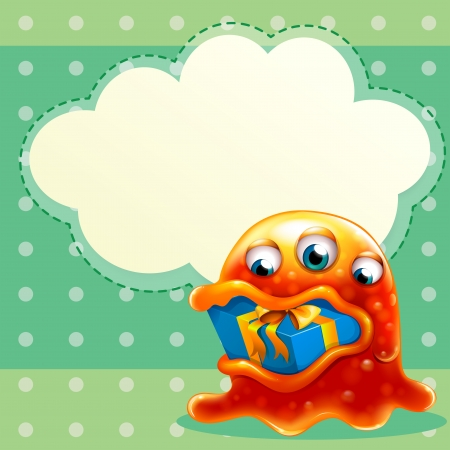 swallowing: Illustration of a monster with a gift inside the mouth and an empty cloud template at the back