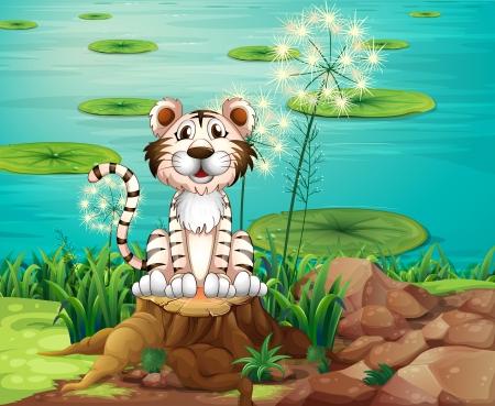 강둑: 강둑에서 그루터기 위의 동물의 그림