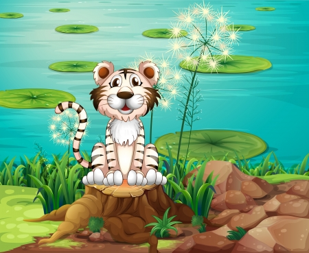 Illustration of an animal above the stump at the riverbank Vector