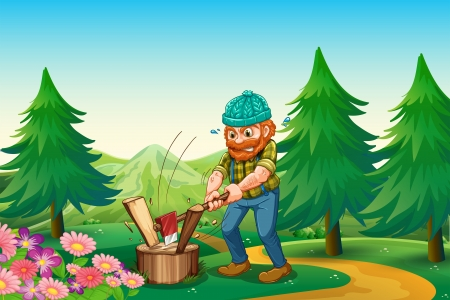 Ilustración de un leñador trabajador cortar la madera cerca del jardín en la cima de la colina Ilustración de vector