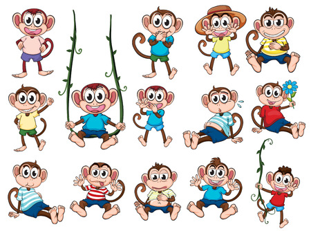 Illustration of a group of monkeys on a white background Vector