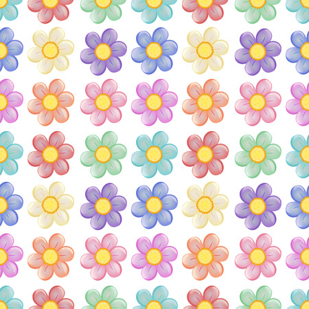 margen: Ilustración de una plantilla sin fisuras con un diseño floral en un fondo blanco