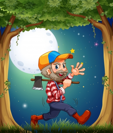 natural resources: Illustration of a happy and hardworking woodman walking at the forest Illustration