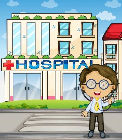 hoog gras: Illustratie van een arts in de voorkant van het ziekenhuis