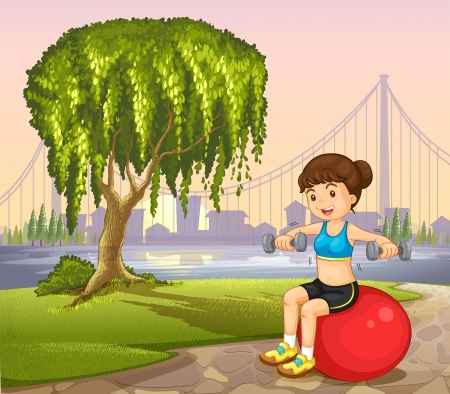 balloon girl: Illustration of a lady near the old tree exercising Illustration