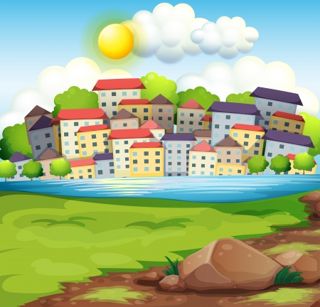 Illustration of a village near the river Vector