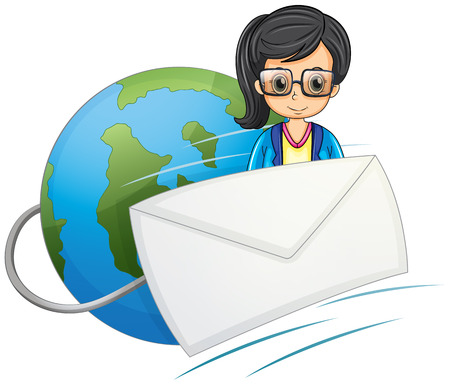 Illustration of a smart-looking lady in the middle of the globe and the envelope on a white background Stock Vector - 23823310