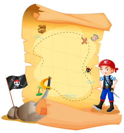 mapa del tesoro: Ilustración de un mapa del tesoro con un joven pirata sobre un fondo blanco