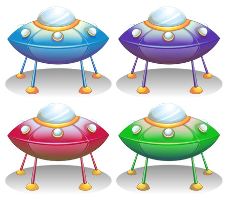 Illustration of the colorful UFO saucers on a white background Vector