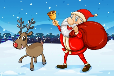 Illustration of Santa and his deer walking Vector