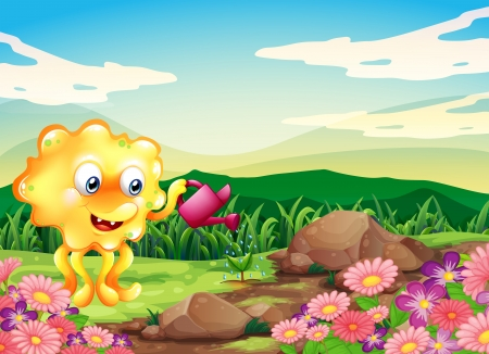 hilltop: Illustration of a happy monster watering the plants at the hilltop with flowers Illustration