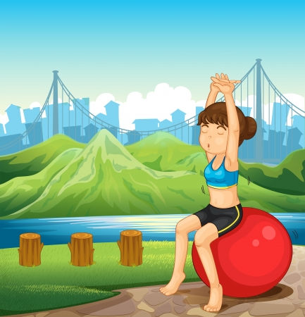 Illustration of a girl exercising near the river across the mountains Stock Vector - 23823375